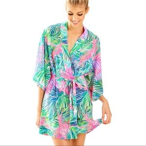 Lilly Pulitzer palm Beach Silk Robe